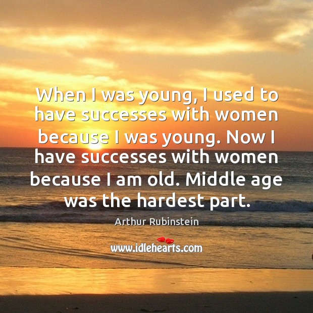 When I was young, I used to have successes with women because Arthur Rubinstein Picture Quote