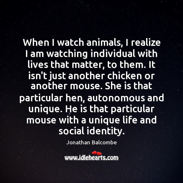 Image, When I watch animals, I realize I am watching individual with lives