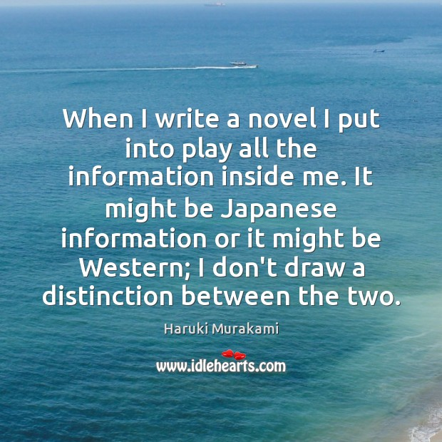 When I write a novel I put into play all the information Image