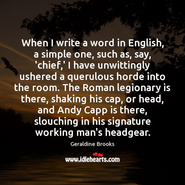 Image, When I write a word in English, a simple one, such as,