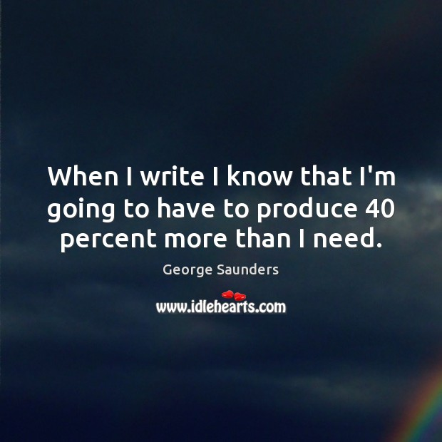 When I write I know that I'm going to have to produce 40 percent more than I need. Image