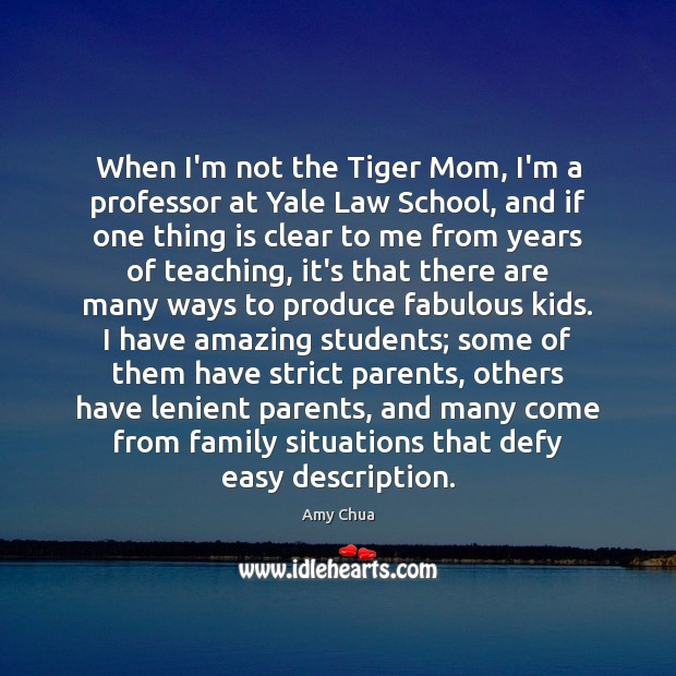 When I'm not the Tiger Mom, I'm a professor at Yale Law Amy Chua Picture Quote