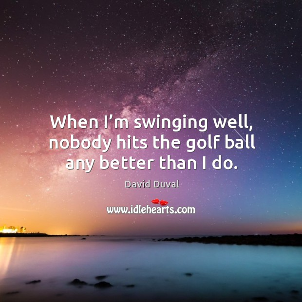 When I'm swinging well, nobody hits the golf ball any better than I do. David Duval Picture Quote