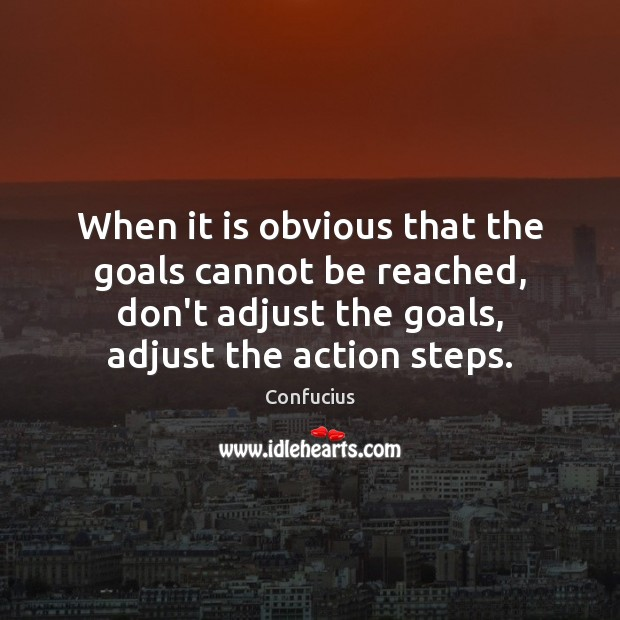 When it is obvious that the goals cannot be reached, don't adjust Image