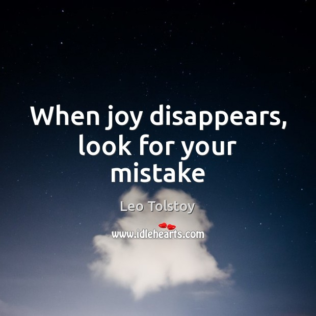 When joy disappears, look for your mistake Image
