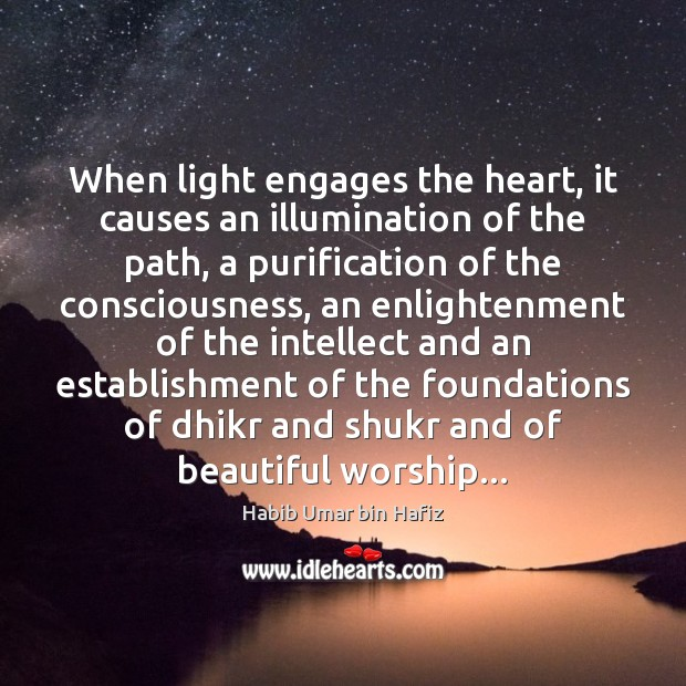 When light engages the heart, it causes an illumination of the path, Image