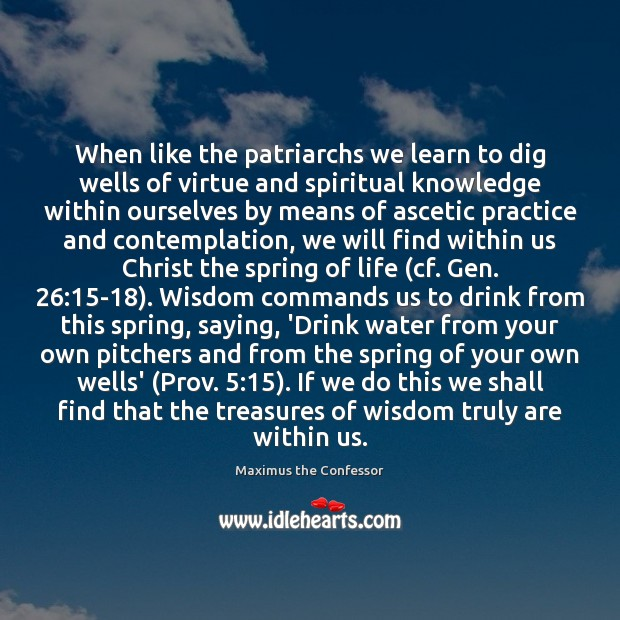 When like the patriarchs we learn to dig wells of virtue and Maximus the Confessor Picture Quote