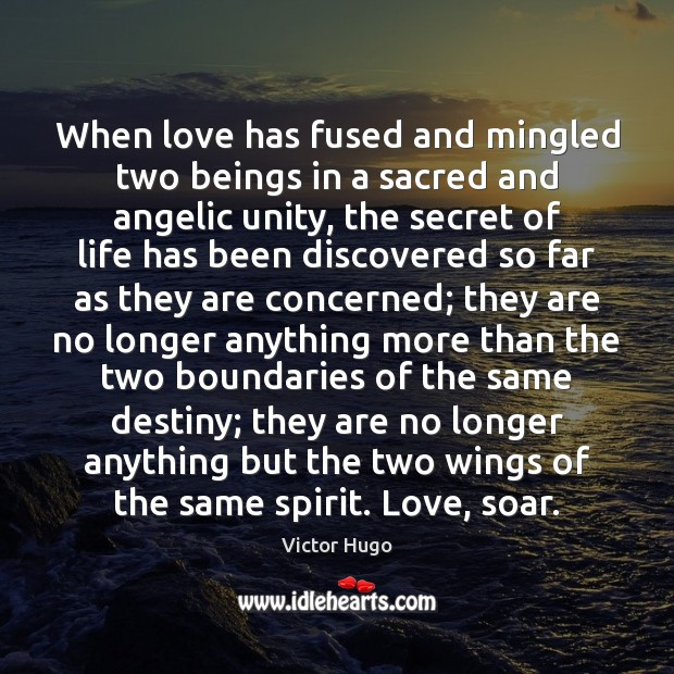 When love has fused and mingled two beings in a sacred and Victor Hugo Picture Quote