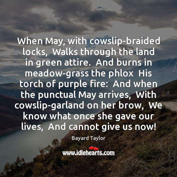 When May, with cowslip-braided locks,  Walks through the land in green attire. Bayard Taylor Picture Quote