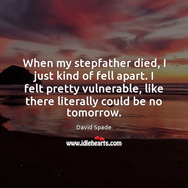 When my stepfather died, I just kind of fell apart. I felt David Spade Picture Quote