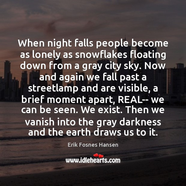 When night falls people become as lonely as snowflakes floating down from Image