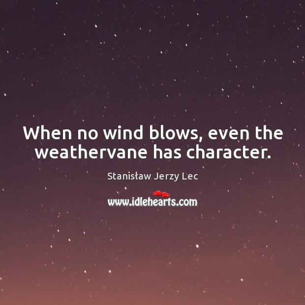 When no wind blows, even the weathervane has character. Stanisław Jerzy Lec Picture Quote