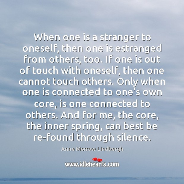 When one is a stranger to oneself, then one is estranged from Image