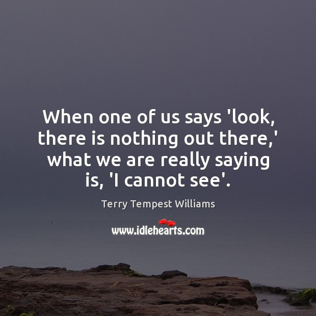 When one of us says 'look, there is nothing out there,' Image