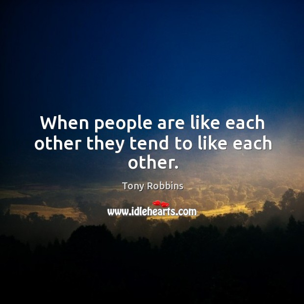 Image, When people are like each other they tend to like each other.