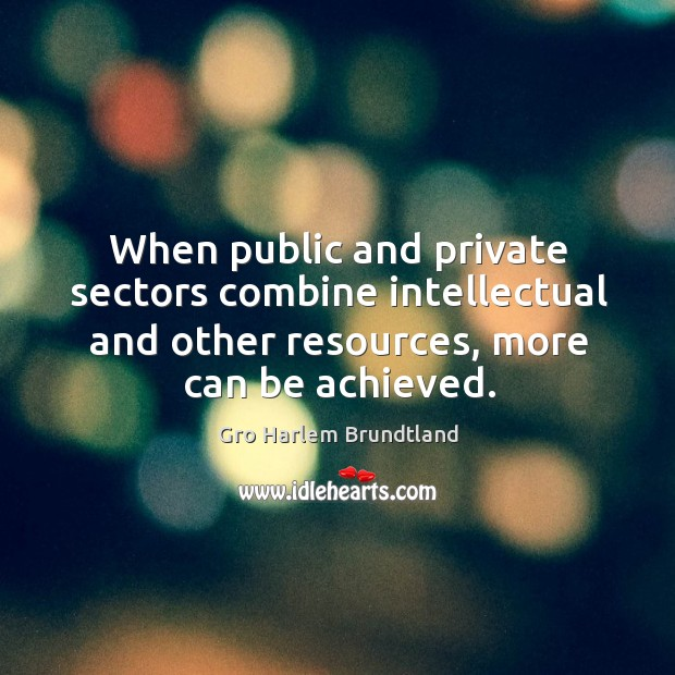 When public and private sectors combine intellectual and other resources, more can be achieved. Image