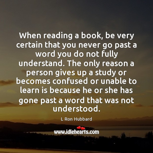 When reading a book, be very certain that you never go past Image