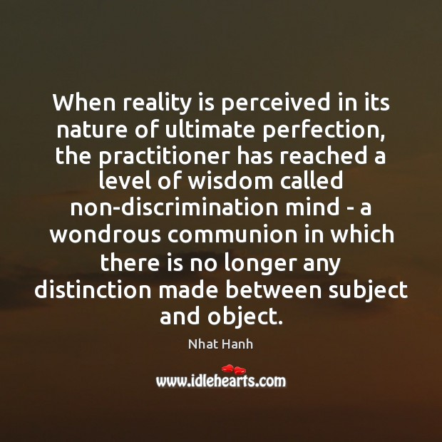 When reality is perceived in its nature of ultimate perfection, the practitioner Image