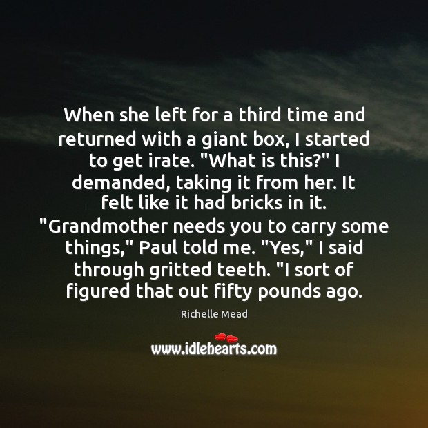 Image, When she left for a third time and returned with a giant