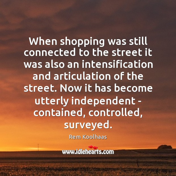 When shopping was still connected to the street it was also an Rem Koolhaas Picture Quote