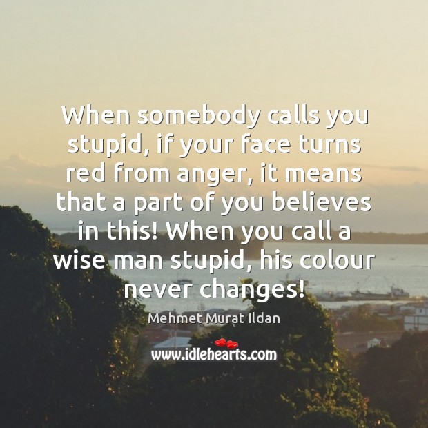 Image, When somebody calls you stupid, if your face turns red from anger,
