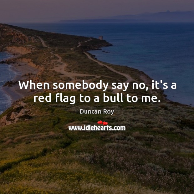 When somebody say no, it's a red flag to a bull to me. Duncan Roy Picture Quote