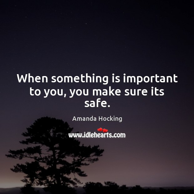When something is important to you, you make sure its safe. Amanda Hocking Picture Quote