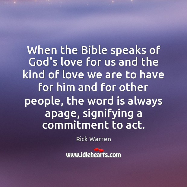 When the Bible speaks of God's love for us and the kind Image