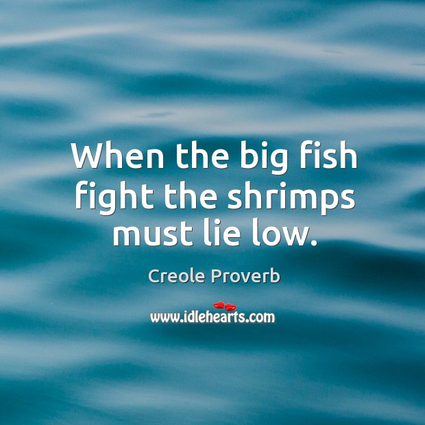 When the big fish fight the shrimps must lie low. Creole Proverbs Image