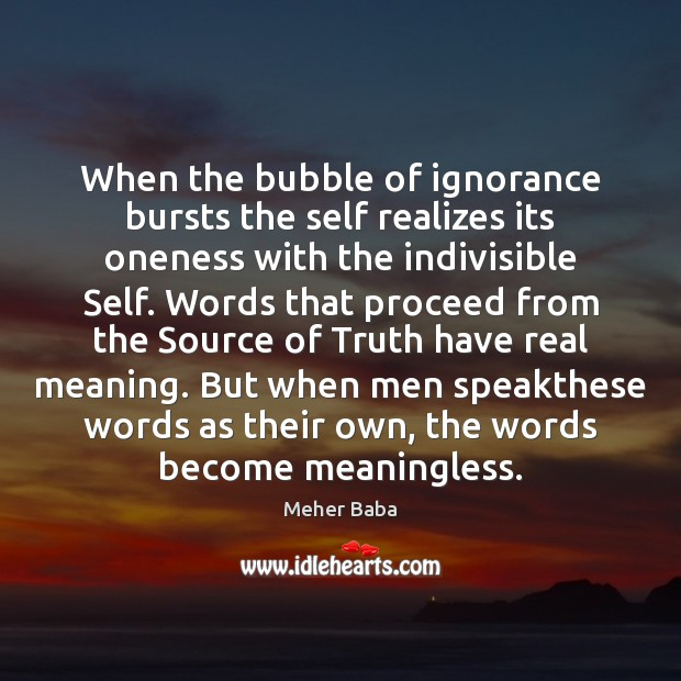 When the bubble of ignorance bursts the self realizes its oneness with Meher Baba Picture Quote