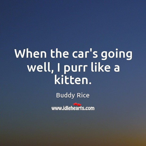 When the car's going well, I purr like a kitten. Image