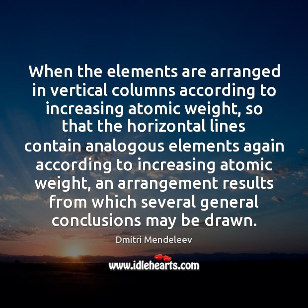 Image, When the elements are arranged in vertical columns according to increasing atomic