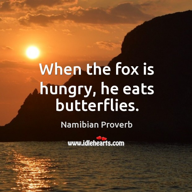 When the fox is hungry, he eats butterflies. Namibian Proverbs Image