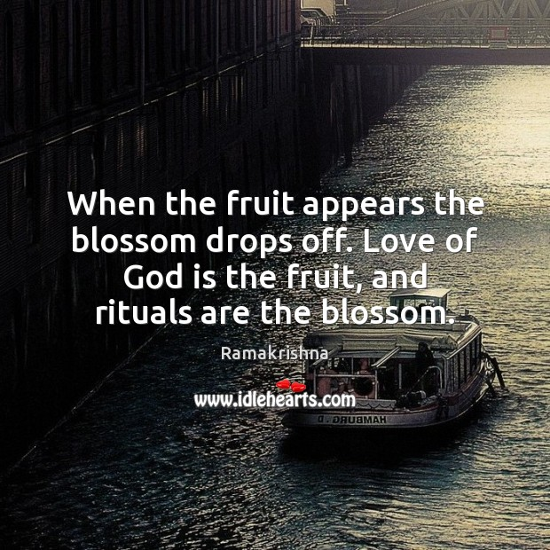 Image, When the fruit appears the blossom drops off. Love of God is
