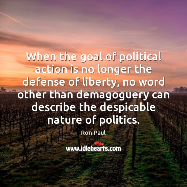 Image, When the goal of political action is no longer the defense of