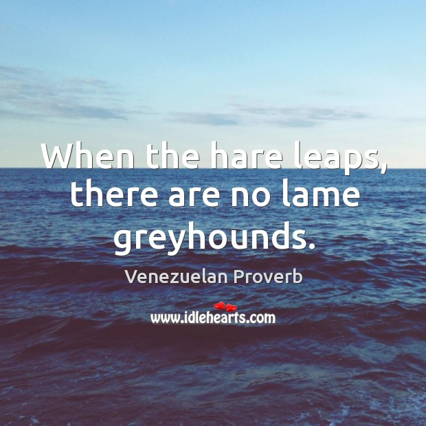 When the hare leaps, there are no lame greyhounds. Venezuelan Proverbs Image