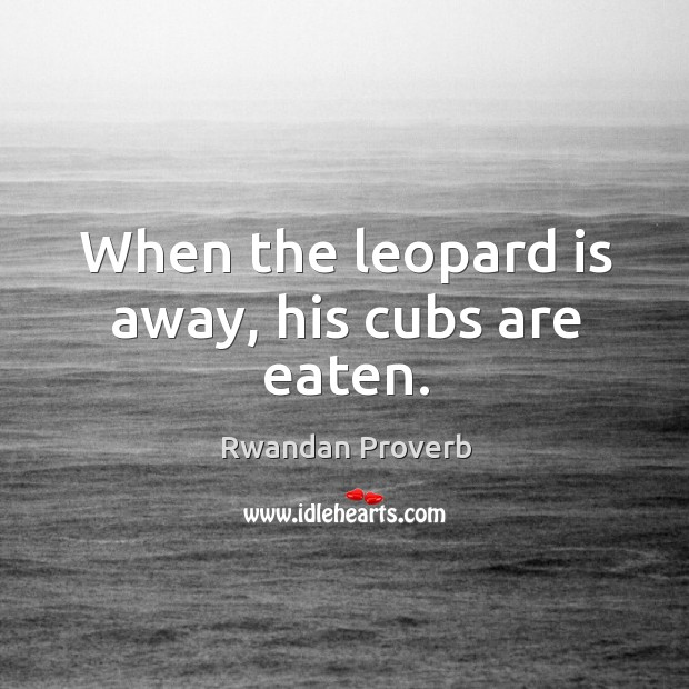 When the leopard is away, his cubs are eaten. Rwandan Proverbs Image