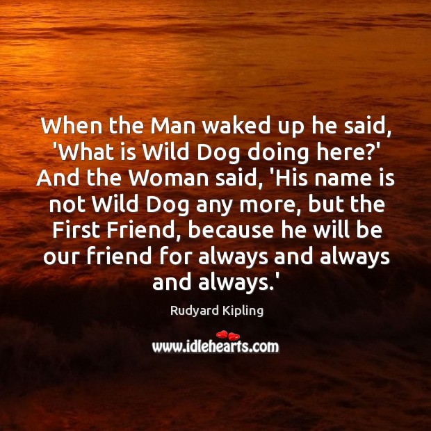 When the Man waked up he said, 'What is Wild Dog doing Image