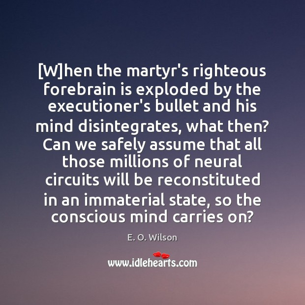 [W]hen the martyr's righteous forebrain is exploded by the executioner's bullet E. O. Wilson Picture Quote