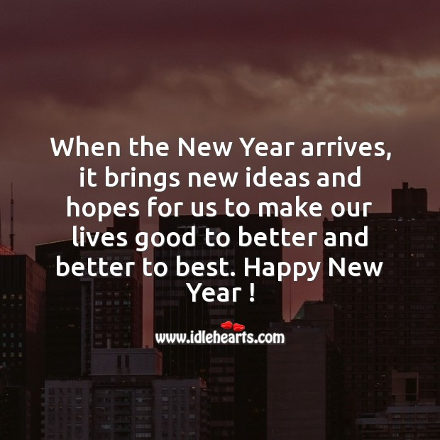 When the New Year arrives, it brings new ideas and hopes for us New Year Quotes Image