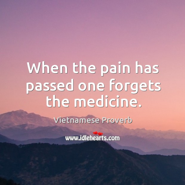 When the pain has passed one forgets the medicine. Vietnamese Proverbs Image