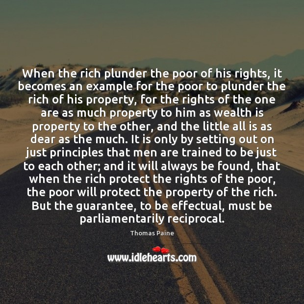 Image, When the rich plunder the poor of his rights, it becomes an