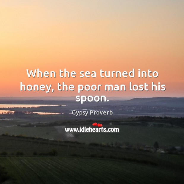 When the sea turned into honey, the poor man lost his spoon. Gypsy Proverbs Image