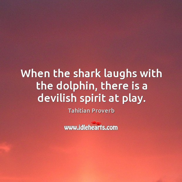 When the shark laughs with the dolphin, there is a devilish spirit at play. Tahitian Proverbs Image