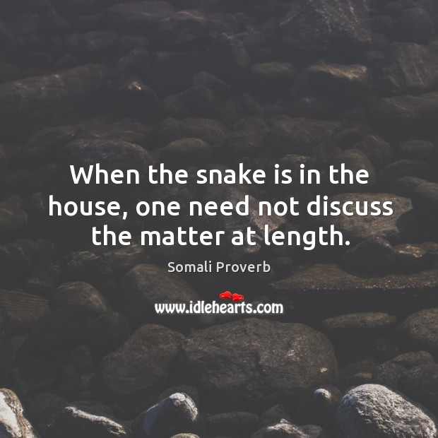 When the snake is in the house, one need not discuss the matter at length. Somali Proverbs Image
