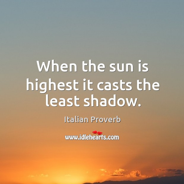 Image, When the sun is highest it casts the least shadow.