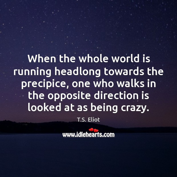 Image, When the whole world is running headlong towards the precipice, one who