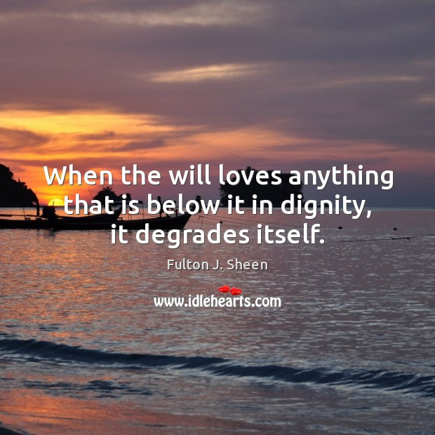 When the will loves anything that is below it in dignity, it degrades itself. Fulton J. Sheen Picture Quote