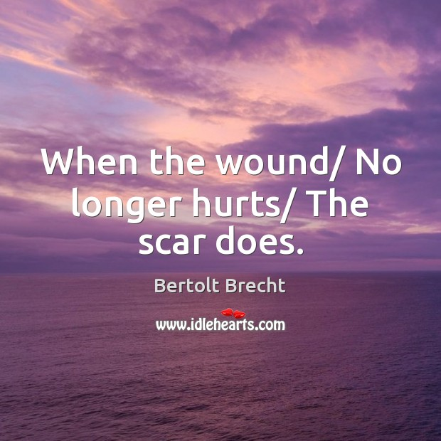 Image, When the wound/ No longer hurts/ The scar does.