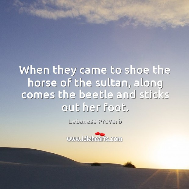 When they came to shoe the horse of the sultan Lebanese Proverbs Image